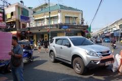 Östra änden av Khao San Road, Bangkok.