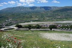 Utsikt i västlig riktning från Berat Castle, Berat.