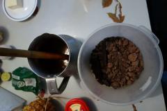 Egenodlad kakao. Frukost hemma hos Carmen, sydvästra Bogotá.
