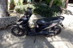 Motorcykeln jag hyrde för att utforska Pacijan och Poro.