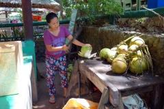Försäljning av kokosnötter vid Lake Danao, Pacijan island.
