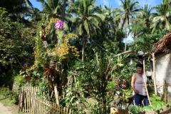Kvinna i trädgården framför sitt hus i barangay Altavista, Poro island.