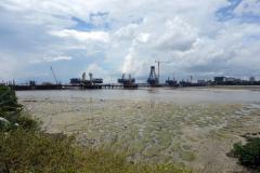Konstruktionen av Selander Bridge, ett av Magufuli's flaggskeppsprojekt, Dar es-Salaam.