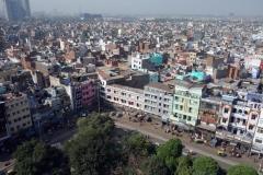 Utsikten över Delhi från minareten, Jama Masjid Mosque (Fredagsmoskén), Delhi.
