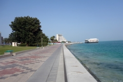 The Corniche med Sheraton Grand Doha Resort & Convention Hotel i bakgrunden, West Bay, Doha.
