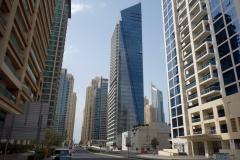 Gatuscen i stadsdelen Dubai Marina, Dubai.