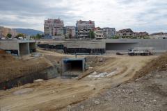 Nya vägar och en ny busstation under konstruktion, Tirana.