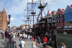 Piratskeepet som tar turister mellan centrala Gdańsk och Westerplatte, Gdańsk.