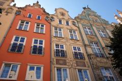 Fasader vid Długi Targ-torget, gamla stan, Gdańsk.