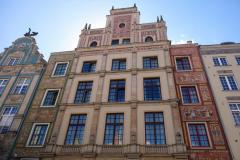 Fantastiska fasader vid Długi Targ-torget, gamla stan, Gdańsk.