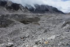 Vy över Khumbu-glaciären i riktning mot Gorak Shep.