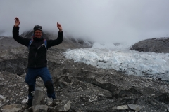 Stefan vid Everest Base Camp och Khumbu Ice Fall.