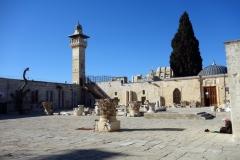En man sitter och läser Koranen vid al-Aqsamoskén, Tempelberget, Jerusalem.