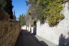 Promenaden ner från Olivberget, Jerusalem.