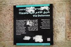 Skylt vid början av Via Dolorosa, Jerusalem.