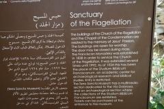 Beskrivning av platsen med byggnaderna som symboliserar station 2, platsen där Jesus blev piskad och fick törnekronan samt korset, Via Dolorosa, Jerusalem.