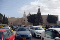 Julgranen och Födelsekyrkan, Manger Square, Betlehem, Västbanken.