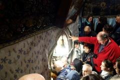 Entrén till Grotto of the Nativity, Födelsekyrkan, Betlehem, Västbanken.