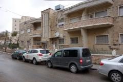 Bostadshus längs en gata i Betlehem.
