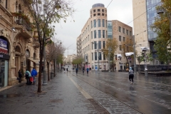 Jaffa Street i centrala Jerusalem under Shabbat.