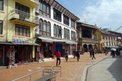 Arkitekturen på området vid Boudhanath stupa, Katmandu.