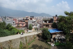 Promenaden till Swayambhunath-templet, Katmandu.