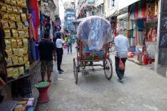 Gatuscen i stadsdelen Thamel, Katmandu.
