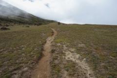 Tillbakablick längs leden åt Dingboche-hållet, längs trekken mellan Dingboche och Lobuche.