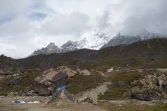 Del av Nuptse (7861 m) synlig från Lobuche vid vår ankomst till byn.