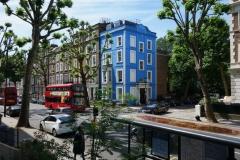Gatan Ladbroke Grove utanför mitt boende, Notting Hill.