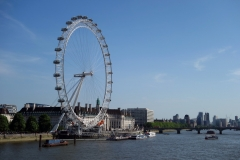 London Eye, County Hall och Westminster Bridge.