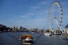 Hungerford Bridge and Golden Jubilee Bridges och London Eye från Westminster Bridge.
