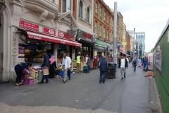 Gatuscen i stadsdelen Whitechapel.
