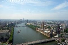 Utsikten från London Eye över Themsen, Big Ben och Westminster.