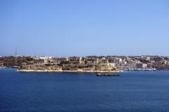 Stadsdelen Kalkara från Siege Bell War Memorial, Valletta.