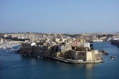 Vy över Senglea från Upper Barrakka Gardens, Valletta.