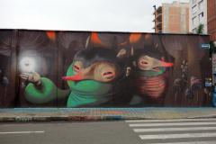 Fantastisk graffiti i närheten av mitt hotell, Poblado, Medellín.