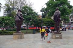Skulpturer av världsberömda konstnären Fernando Botero, Plaza Botero, Medellín.