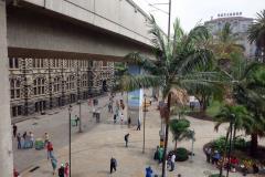 Palace of Culture Rafael Uribe Uribe till vänster och Hotel Nutibara till höger i bild, Medellín.