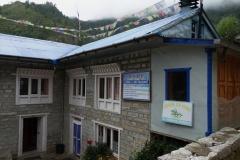 Mitt första boende på trekken, Sherpa Lodge, Monjo.