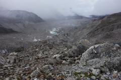 På väg ner längs Khumbu-glaciären någonstans mellan Gorak Shep och Lobuche.