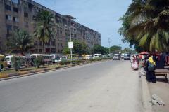 Bostadshus byggda i sovjetstil längs Karume Road, Ng'ambo, Zanzibar Town, Unguja.