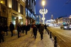 Promenad längs paradgatan Nevsky Prospekt, Sankt Petersburg.