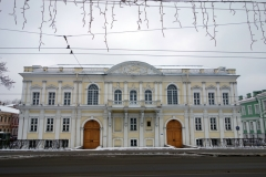 Vacker arkitektur, Vasilyevsky island, Sankt Petersburg.