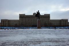 Moskvatorget med Lenin-statyn och House of Soviets i bakgrunden, Sankt Petersburg.