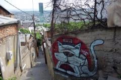 Gammalt och nytt, promenaden till bergbanan, Tbilisi.