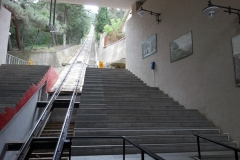 Bergbanan upp till Mtatsminda Park, Tbilisi.