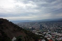 Utsikten från bergbanan upp till Mtatsminda Park, Tbilisi.
