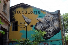 En tragisk graffiti-målning i historiska Tbilisi.