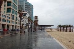 Stranden backad av skyskrapor i centrala Tel Aviv.